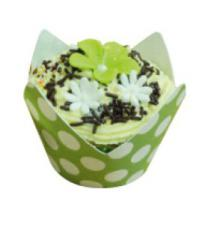 Polka Dot Wrappers (12) with baking cups Lime Green