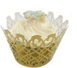 Fancy Lace Muffin Holder Palms Gold (12)