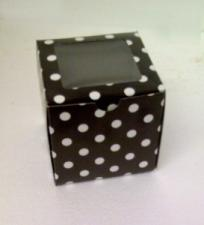 Cupcake Box Window Black with white spots (12)