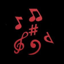Icing Decor - Music Notes - Red
