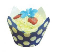 Polka Dot Wrappers (12) with baking cups Blue