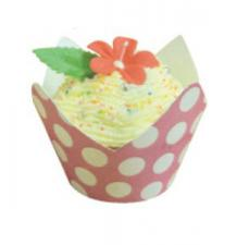 Polka Dot Wrappers (12) with baking cups Pink