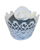 Fancy Lace Muffin Holder Palms Silver (12)