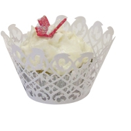 Fancy Lace Muffin Holder Palms White (12)