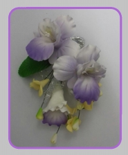 Flower Spray - White(Purple Tips) - Small